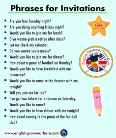 Phrases for Invitations Examples in English - English Grammar Here