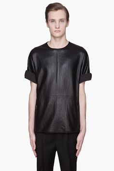 LANVIN Black quilted lambskin t-shirt