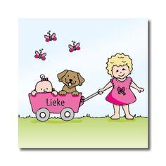 Poppycards geboortekaartje - bolderwagen met hond en vlinders