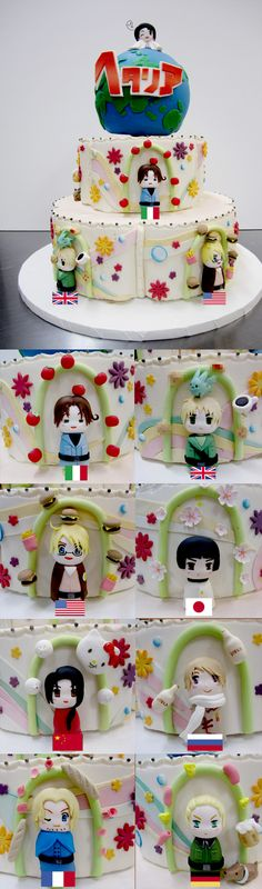 Spinning Hetalia Cake [the censored things are just scones hahaha] The top spins!<<<South Korea is at the top! <<< Cute as Hell! Anime Cake, Pokemon, Fangirl, Hetalia Axis Powers, Awesome Anime, Cake Designs, Kawaii, Amazing Cakes, Manga Anime