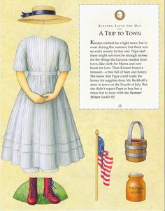 Kirsten Paper Dolls an AMERICAN GIRL by Pleasant Company Publications, 1994: Page 15 (of 26). Even pages are the backs of odds and contain description of outfit and possibly book page (1 through 20)