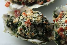 Oysters rockefeller. Love making this on Christmas Eve, to die for