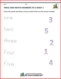 Trace and Match Sheet 1. A preschool number worksheet involving tracing and matching numbers up to 5.