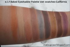 e.l.f Baked Eyeshadow Palette-California-Wet Swatches.