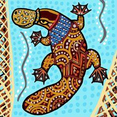 Based on Australian aboriginal art Aboriginal Platypus Aboriginal Art Animals, Aboriginal Dot Art, Aboriginal Painting, Aboriginal Artists, Dot Painting, Aboriginal Tattoo, Kunst Der Aborigines, Social Art, Platypus