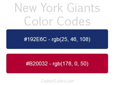 Team Colors of the NY Giants. Hexadecimal and RGB Codes for the New York Giants Logo. Hex and RGB Color Palette Schemes for the New York Giants Jerseys. What colors are the New York Giants?