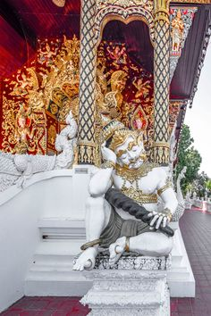 Temple statue in Mae Rim, Thailand Temple, Thailand, Tapestry, Statue, Home Decor, Stone, Hanging Tapestry, Tapestries, Decoration Home