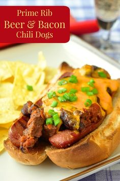 Prime Rib Beer and Bacon Chili Dogs - an ultimately decadent celebration of the humble hot dogs. Especially great for National Hot Dog Day!