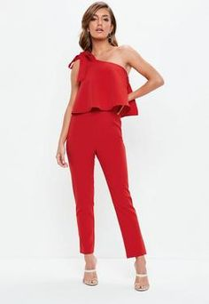0847c4950162 Red One Shoulder Bow Jumpsuit Capri Pants Outfits