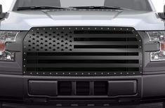 Custom Steel Aftermarket Grille for Ford Truck Powder Coated Black Satin American Flag America Design Made in USA F150 Truck, Ford Trucks, Custom F150, 2015 Ford F150, Grill Guard, Plasma Cutting, Silverado 1500, Truck Parts, Ford