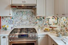 Kitchen Before & After: A Magical Mosaic Backsplash — Kitchen Remodel -- the part above the stove has a far more muted colour to it, but I like the idea of tiling out of random bits of crockery