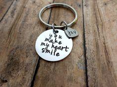 You Make My Heart Smile - Husband, Boyfriend Gift, Keychain Gift, Handstamped Men's Gift, Custom Keychain by HandmadeLoveStories on Etsy