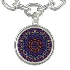 Blue and yellow Celtic knot mandala with purple highlights.