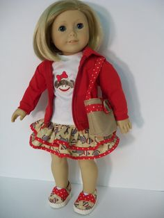 Five Piece Sock Monkey Outfit by JenAshleyDollDesigns on Etsy, $42.00    Even the shoes match the blouse & skirt.