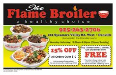 2 Regular Chicken Bowls* for $10.99 + tax at Flamebroiler Upland