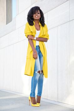 Style Pantry | Yellow Trench + Bodysuit + Distressed Jeans waysify