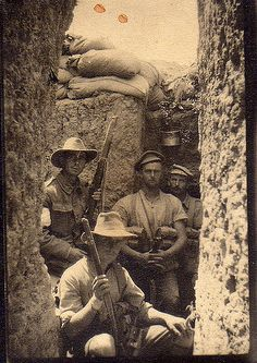 Australian soldiers in trenches at Gallipoli, 1915 - Unknown Australian solders in trenches at Gallipoli, probably stretcher bearers of the 9th Battalion AIF, 1915