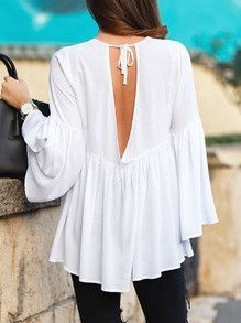 white blouse, white top, ruffle sleeve top, sexy top - Lyfie