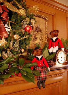 Nature Hunt Themed Christmas Mantel Stuffed Fox Hunt Pair