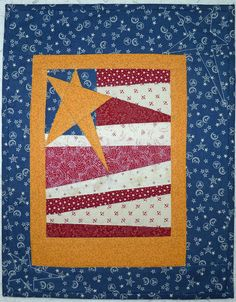 Americana Flag Paper Piecing Pattern -What better way to show your pride in your country than this adorable little flag? Quick and easy to piece, it is the perfect addition to your patriotic decor. Paper piecing makes the odd angles a breeze! 10 x 13 Flag Quilt, Patriotic Quilts, Quilt Blocks, Paper Piecing Patterns, Quilt Patterns Free, Pattern Blocks, Sewing Patterns, Small Quilts, Mini Quilts