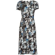 Erdem Vanya Truman Bloom-print jersey dress ($869) ❤ liked on Polyvore featuring dresses, blue print, ponte dress, blue jersey dress, flower print dress, cap sleeve dress and blue print dress