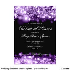 """Wedding Rehearsal Dinner Sparkling Lights Purple CardMatching products available! Elegant wedding """"Rehearsal Dinner"""" design with Sparkling Lights Purple motif, custom names and date text. Impress your family and friends with this stylish and modern design. Fully customizable! Easy to use and easy to personalize."""