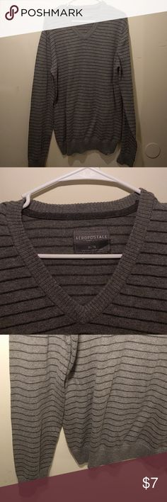 *5 for $20* Men's Aero striped sweater Men's Aeropostale grey striped V neck sweater, size XL. Like new condition! 15% off 3+! Sweaters V-Neck