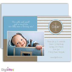 Baby Boy Invitation/1st Birthday boy invitation/Boy Invitation/Baby boy invites/First Birthday boy invitation/Photo Invitation/Polka dots