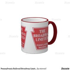 Pennsylvania Railroad Broadway Limited Ringer Coffee Mug; $18.95 - #stanrail -  Zazzle ringer mugs are available in ten distinctive hues: black, lime, maroon, navy blue, orange, powder blue, red, yellow, hunter green, and light blue. Use the color selector on the right-hand side of this page to find the best match for your design. The outside of the mug features a bright, white base for your photo, logo, pattern, or saying. @stanrails_store