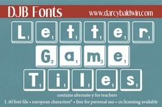 You know how you've always wanted that certain game font, but with all the letters numbers and characters that you really need? Not just the upper case? Well, here is an alternative Scrabble font just for you! Free for personal use, commercial licensing available at DJB Fonts!