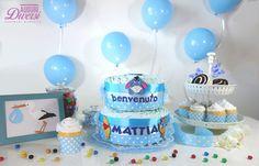 Auguri Diversi diaper cake - Torta di pannolini 2 piani (45 pannolini Pampers Baby Dry tg.3) - Nascita, Baby Shower, Battesimo www.facebook.com/AuguriDiversi