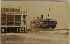 1935 Postcard of 1934 MORRO CASTLE Ship Wreck Boat Ashore ASBURY PARK NEW JERSEY 1930s