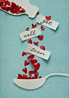 get well soon / bon rétablissement Cute Cards, Diy Cards, Sympathy Cards, Greeting Cards, Tarjetas Diy, Karten Diy, Get Well Cards, Creative Cards, Creative Ideas
