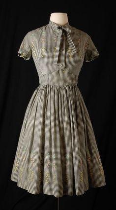 ~Dress and Bolero, Sambo Fashions, Beatrice Fashion House: ca. 1955, Dutch, cotton; embroidered~