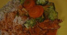 Hähnchengeschnetzeltes mit Tomaten-Käse-Sauce, Gemüse und Reis (WW)