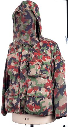 """Ispiration for Millemiglia Jacket, field jacket model used by the Swiss Army since 1957. With 1955 Swiss #Leibermuster camouflage pattern. Preparation photos for the book """"Ideas from Massimo Osti"""""""