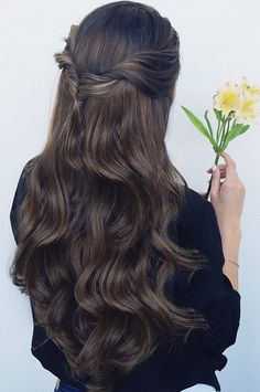 Loving long hair in soft waves and this twist-back hairstyle <3 Created with Chestnut Brown Luxy Hair Extensions   https://instagram.com/liliyakay/