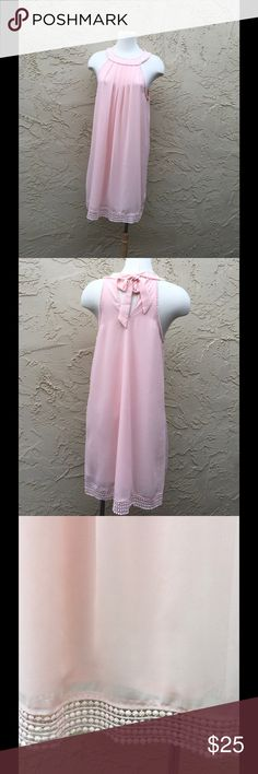 """🌟Pink New Chiffon Dress By Etik 3tt🌟 New Chiffon Fully Lined, Ties on the Back Neck, 100% Polyester, Medium Measure 18"""" armpit to armpit 34"""" length, Large Measure 20"""" armpit to armpit 36"""" length. Eitk3tt Dresses"""