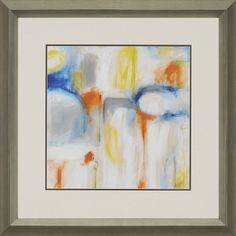 The Jasper Direction I Framed Art. Gray abstract is brought to life with jolts of blue, orange and yellow. Framed in silver molding.