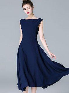 Elegant Blue Big Hem Tight Waist Dress