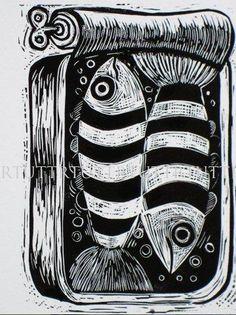 """Fish in a Tin lino proof - Folksy #poisson #sardine #linogravure"