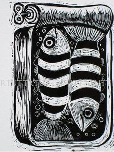 """Fish in a Tin lino proof - Folksy #poisson #sardine #linogravure"