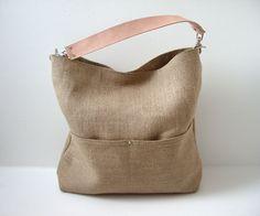 Bucket Tote, Hobo Tote, Linen Tote Bag, Natural, Beach Bag, Day Bag, Resort Tote, Summer Tote Bag, Jute Linen and Leather Bag for Women. $138.00, via Etsy.
