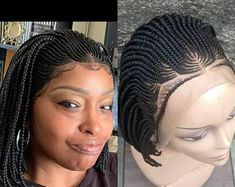 Ready to ship,Short Box Braided wig, Frontal box Braided, Medium size box braids Short Box Braids, Box Braid Wig, Small Braids, Afro Braids, Cornrows, Upside Down French Braid, Curly Hair Styles, Natural Hair Styles, French Braid Ponytail