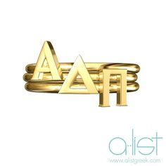 Alpha Delta Pi Stack Rings by AListGreekDesigns on Etsy