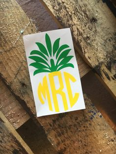 pineapple monogram decal sticker by southernfriedmgrams on Etsy