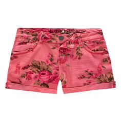 """Vanilla Star denim shorts. Traditional five pocket styling. Allover floral print. Cuffed leg openings. Zip fly. Button waist. Approx rise: 7.5""""(19cm). Approx i…"""