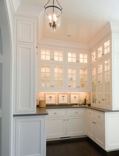Butler's Pantry. Cabinets and lights