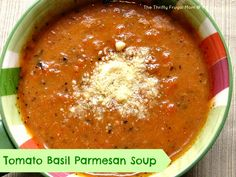 Tomato Basil Parmesan Soup (crock pot or stove top)- a delicious, good-for-you soup!