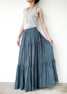 NO.5 Greyish Blue Cotton Hippie Gypsy Boho Tiered by JoozieCotton